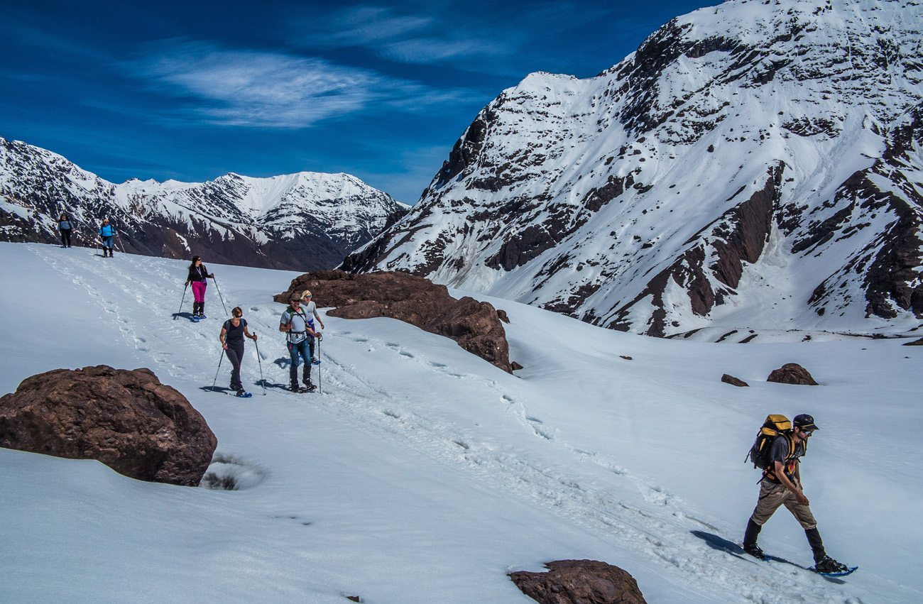 Snowshoeing adventure through a winter scenic valley